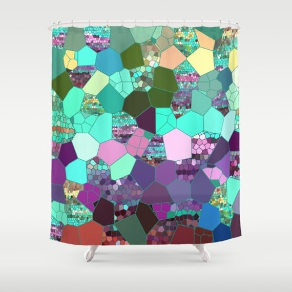 Items similar to beautiful shower curtain purple teal for Purple mosaic bathroom accessories