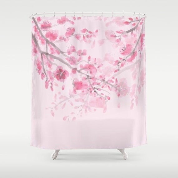 Cherry blossom pink shower curtain sumi watercolor floral pink