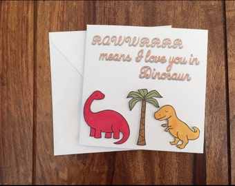 Dinosaur Card, Love You Card, Anniversary Card, Valentines Day Card, I Love You Card, Funny Card