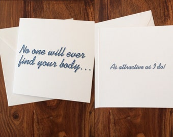 Never Find Your Body Card, Anniversary Card, Valentine's Day Card, Funny Handmade Card