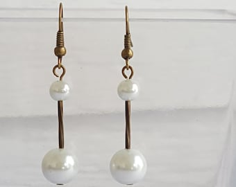 White Glass Pearl Antique Vintage Gold Drop Earrings