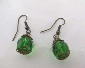Vintage Green Bead Dangle Earrings Pierced Ears