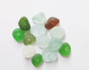 Sea glass beads 13 p. beach glass beads seaglass center drilled sea glass real genuine authentic jewelry making beads seaglass (DSG-49)