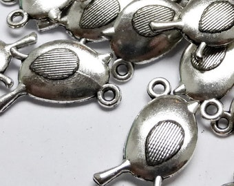 10 x Antique Silver Robin Charms, Bird Charms, Christmas Charms, Robin Pendants, Robin Beads LF CF NF Birds 20mm TS137