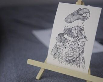 Fantasy Ram Man Drawing, Ram Head Art, Fantasy Ram Postcard, Anthropomorphic Ram, Fantasy Sheep, Fantasy Illustration, Sheep Art, A6 Print