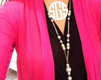 XL Acrylic Monogram Necklace | Various Colors | Monogram Necklace | Gift for Her