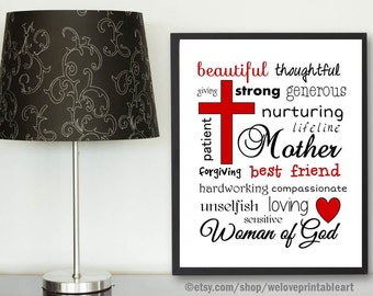 Gift Ideas for Mom, Christian Gift for Woman, Mother's Day Gift Idea, Gift for Mom, Printable Art, Red and Black