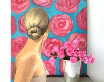 """Original Oil Painting """"Jessica Rose"""" Classic Style Pink Roses Blue Print Wallpaper Grace Kelly Nod by Tina Petersen"""
