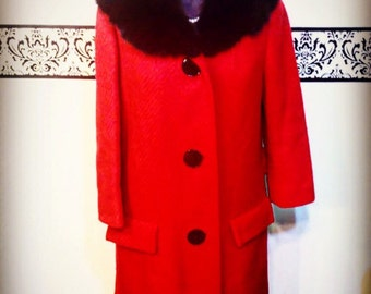1950's Cherry Red Wool & Mink Fur Coat, Size Medium Large, Vintage 60's Red Princess Coat, 1950's Red Pin Up Peacoat, 50's Red Mink Pea Coat