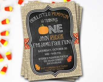 Pumpkin First Birthday Invitation, Fall Birthday Invitation, Halloween Birthday, Pumpkin Invitation, Printable Invitation, DIY Printable