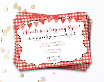 Red Picnic Invitation, Picnic Invitation, Picnic Invite, Picnic Birthday Party, Red Gingham Invitation, DIY Printable