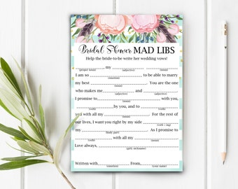 Bridal Shower Mad Libs, Help The Bride Write Her Wedding Vows, Item 709