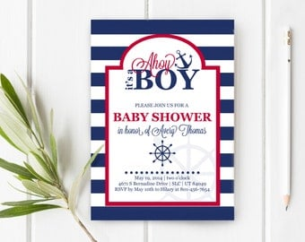 Nautical Baby Shower Invite, Ahoy It's A Boy Baby Shower, Item 205