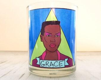 Grace Jones Glass Votive Candle // LGBTQ Altar Candle