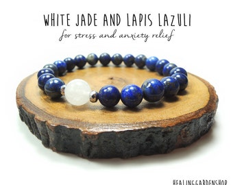Stress and Anxiety Relief // White Jade and Lapis Lazuli Bracelet // Bridesmaid Gift // Energy Bracelet // Healing Garden Shop