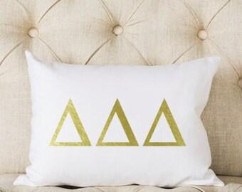 Delta Delta Delta Pillow | Metallic | Gold | Greek | Sorority