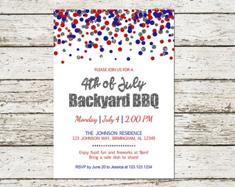 4th of July BBQ Invitation Red Blue and Silver Glitter Cookout Party Printable Digital File or Printed Prints Elegant Chic Independence Day