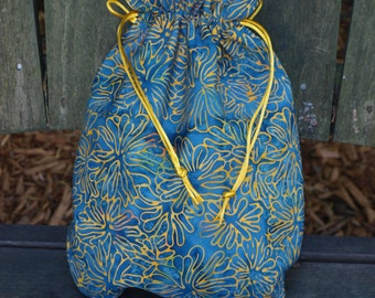 Small Lined Drawstring Project Bag for Knitting - denim blue/gold/orange batik