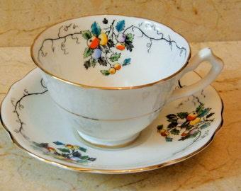 Vintage Vine Teacup, Vintage Gladstone Tea Cup, Tea Cup and Saucer,Fruit and Leaves,Vine Teacup, Bone China, Gladstone Made in England, 5775