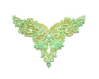 Green Iridescent Motif Bodice Sequin Applique Patch