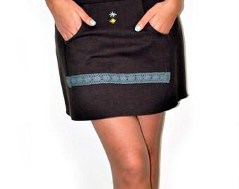 Brown Handmade Short Mini Skirt