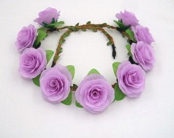 Purple Flower Crown,Purple Rose Headband,Purple Rose Crown,Purple flower Headband,Girls,Women,Adult,Floral Crown,Rose Halo,Rose Hair Wreath