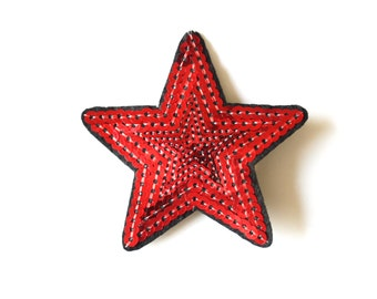 Red sequin hair clip, red Sparkly star, red star hair clip, red Christmas star, Red hair star