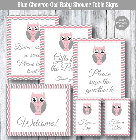 pink owl printable baby shower table signs gift table favor