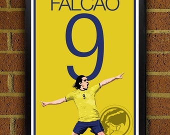 Radamel Falcao - Poster - World Cup Poster, Football, Soccer, Colombia, poster art