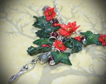 Yule Tidings Goddess Necklace - Pagan, Wicca, Witch, Winter Solstice, Handmade