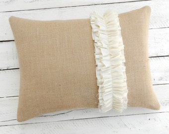 "Burlap Pillow with Muslin Ruffle - 12"" x 16"""