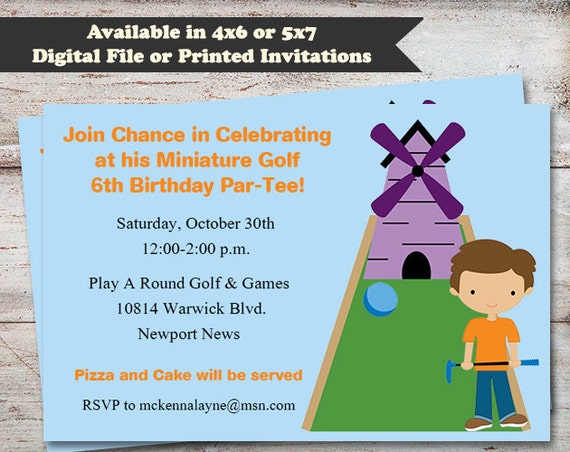 Miniature golf birthday invitations miniature golfing birthday il570xn filmwisefo