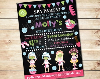 Personalized Girls SPA Birthday Party Invitation - Digital File or Printed Copies - Printable - Invitation - Invite - 5x7 or 4x6