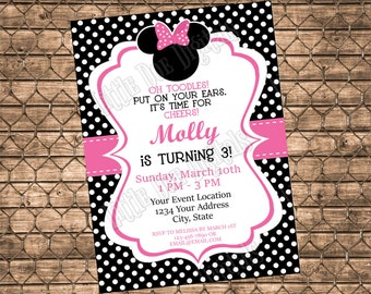 Personalized Minnie Mouse Birthday Party Invitation - Digital File or Printed Copies - Girl Invitation - Pink and Black - 5x7 or 4x6