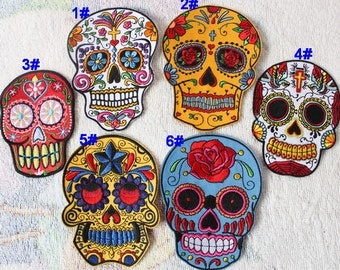 skull embroidered patch floral applique dress accessories iron on patch applique home decoration