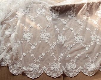 Lace Fabric French Embroidered flower Lace Fabric triml lace trimming - by yard