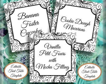 Treat Table Printable Template Candy Table Swirls Food Signs Editable Template Wedding Signage Wedding Decor Instant Download Wedding DIY