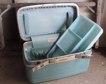 Vintage Samsonite Train Case Samsonite Silhouette Aqua Train Case Carry On Luggage Cosmetic Case Overnight Bag
