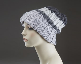 3 Shades of Gray Free Shipping Pure Cashmere Hand Knit Hat  - Color Blocking -  Unisex men women - Bulky - Grey