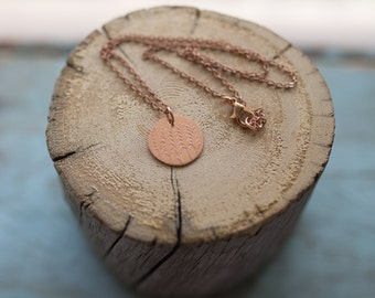 Handmade Wheat Etched Copper Circle Pendant Necklace