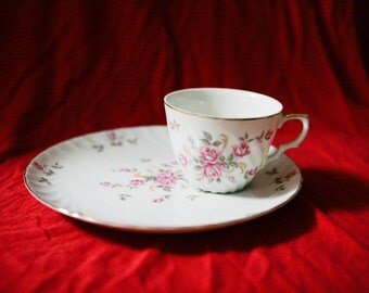 Vintage Lefton China Cup & Snack Plate Hand Painted Porcelain Moss Rose 3171 O9