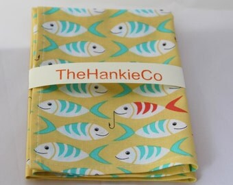 Bright colourful fish design cotton hankie