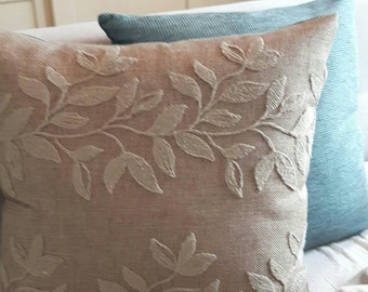 Euro cushion cover set blue uni or blue with leaves