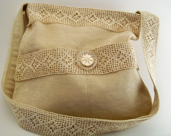 Tote/Purse/Lace/Ecru/Vintage Button/One of a Kind/Embelished/Medium Size/Silk/Cotton