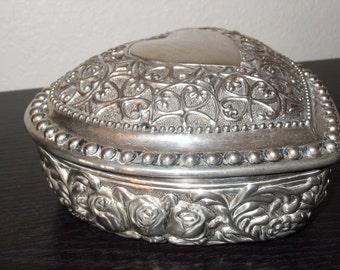Vintage Jewelry Box, Silver Jewelry Box, Heart Shaped Jewelry Box,  Embossed Jewelry Box, Red Velvet Lined Jewelry Box