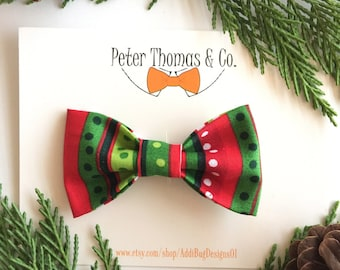 Baby/Toddler/Boys Christmas Bow Tie, Striped Christmas Bow Tie, Clip On Bow Tie