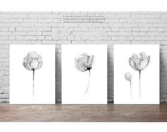 Peony Grey Flower Abstract Floral Wall Decor, Three Flowers Nursery Kids Room Art Print, Black White Minimalist Modern Illustration set 3