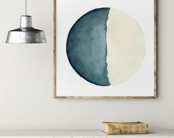 Moon Watercolor Painting, Vanilla Turquoise Moon Phase Giclee Print Blue Living Room Decor Solar System Bedroom Illustration Abstract Poster