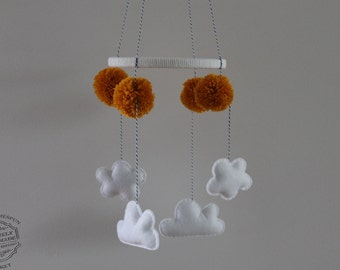 Cloud Mobile, Hanging Cloud Baby Mobile Nursery Decor-Customized