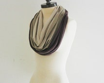 Tan Ombre Infinity Scarf. Brown Taupe Jersey Soft Cotton Eternity T-Shirt Circle Scarf. Recycled Upcycled Womens Gift Clothing Accessories
